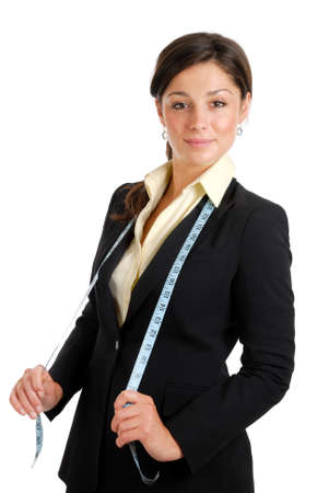 This is an image of a business woman wearing a measuring tape.