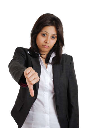 This is an image of a business woman gesturing thumbs down. Stock Photo