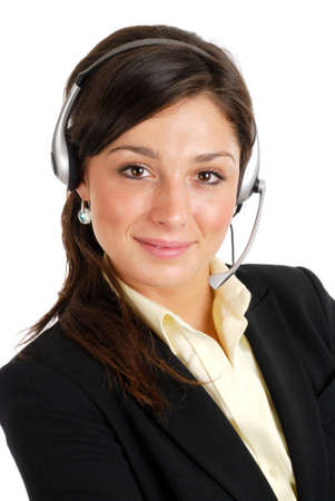 This is an image of a business woman with a headset.