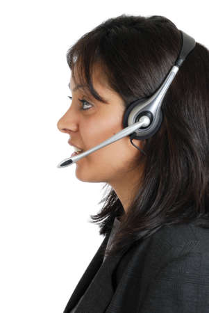 This is an image of a business woman headset.
