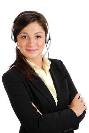 Se trata de una imagen de operador de centro de llamada femenina.