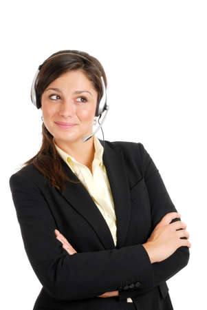 This is an image of customer support woman looking away. photo