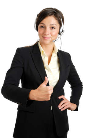 This is an image of a confident communcations business woman giving thumbs up. Stock Photo