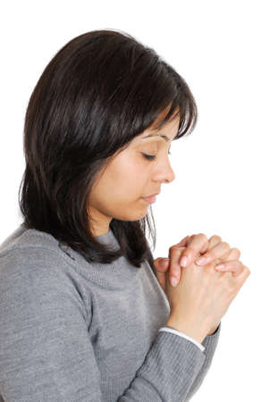 This is an image of business woman praying. photo