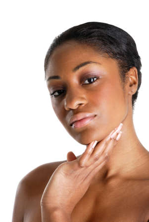 This is an image of beautiful black woman skin care Stock Photo