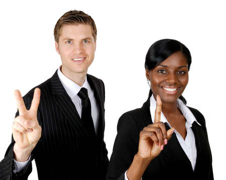 This is an image of multi-ethnic business couple showing one and two with their hands.