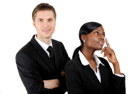 This is an image of a business couple business woman thinking and business man looking on. Stock Photo - 9436457