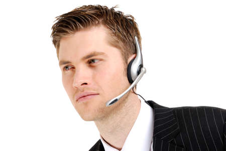 This is an image of a customer service operator looking away. Stock Photo