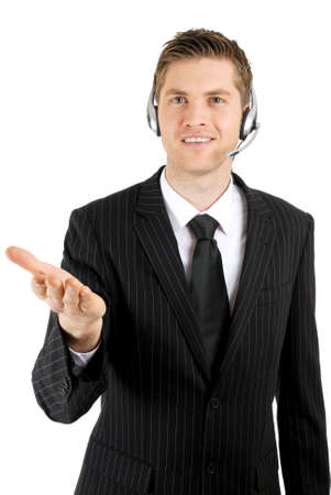 This is an image of customer service operator offering help. photo