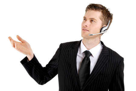 This is an image of a customer service operator with hand raised into copyspace.