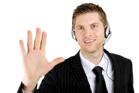 This is an image of a customer service support operator showing hand palm