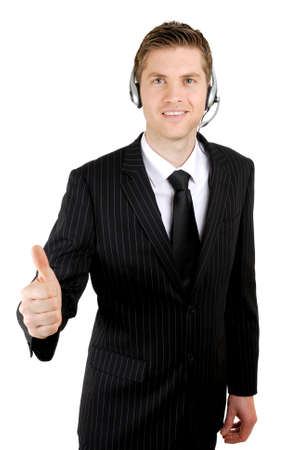 This is an image of customer service operator giving thumbs up. Stock Photo