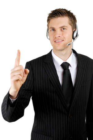 This is an image of a business communications operator wearing a microphone headset.