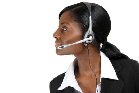 This is an image of a customer service support operator looking away. Stock Photo