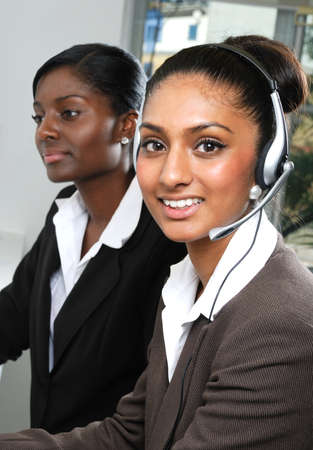 african american businesswoman: This is an image of helpdesk center operator.