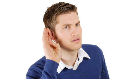 This is an image of a business man listenning. Stock Photo