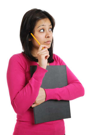 This is an image of female student holding a folder and pencil.