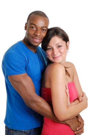 This is an image of young couple clutching each other happily. Stock Photo