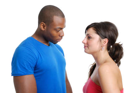 This is an image of a couple looking at each other.