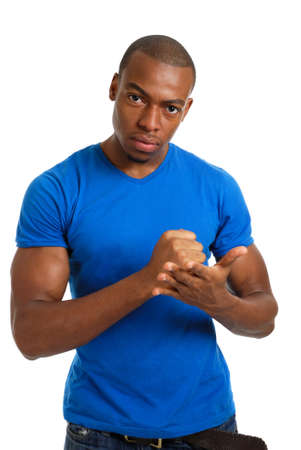 This is an image of a serious male student with a firm gesture.  photo