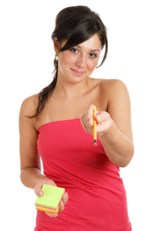 This is an image of a female student offering a pencil whilst holding post its. photo