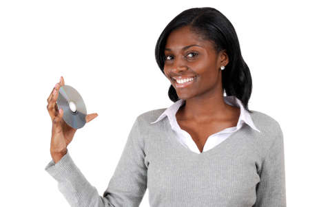 This is an image of a business woman holding a cd. photo