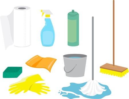 mops: Various cleaning supplies including: window spray, sponge, paper towels, mop, broom, rag, gloves and bucket.