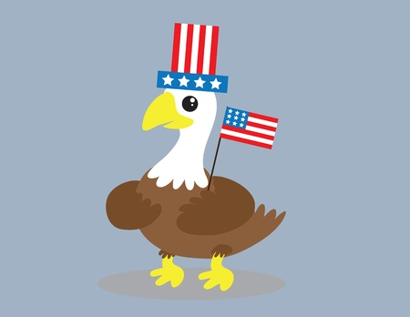 Cartoon bald eagle with american flag and hat.