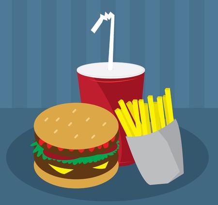 Hamburger, Fries and Drink Fast Food Ilustração