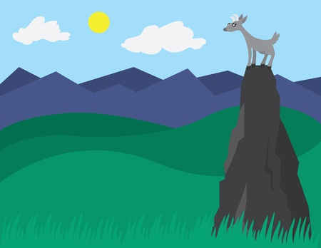 Goat at the top of a mountainrock. Illustration