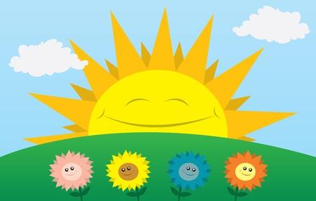 Grote zon glimlachend met bloemen op de voorgrond.