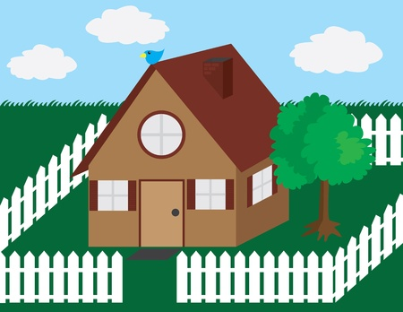 suburban house: House illustration with picket fence and tree.