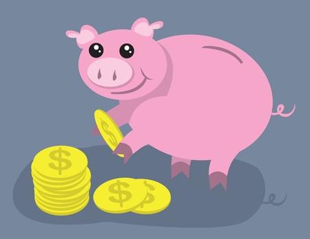 Piggy bank picking up coins.