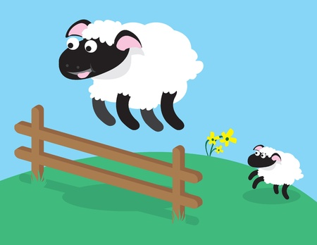Sheep jumping over fence.  Can be used for counting sheep before sleep. Stock Vector - 10576069