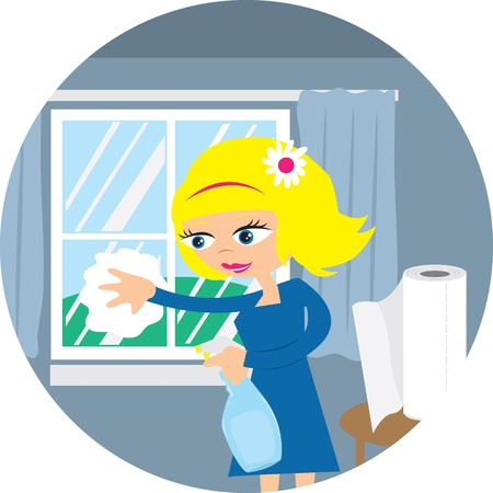 Woman cleaning window with spray and paper towel. Vector
