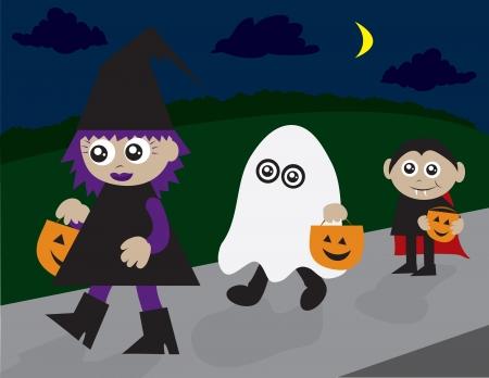 トリックまたは treaters の歩道を歩いてします。魔女、幽霊や吸血鬼。  イラスト・ベクター素材