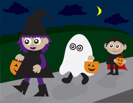 Trick or treaters walking on the sidewalk.  Witch, ghost and vampire. Ilustração