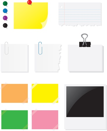 Various papers and labels used for notes.   Stock Vector - 10640235