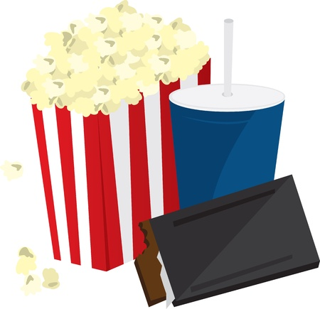 Movie popcorn, candy bar and soft drink