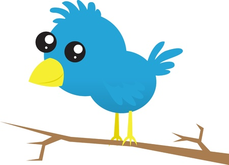 Blue bird standing on a branch. Vector