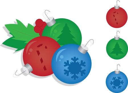 Three Christmas ornaments ready to hang Stock Vector - 11307866