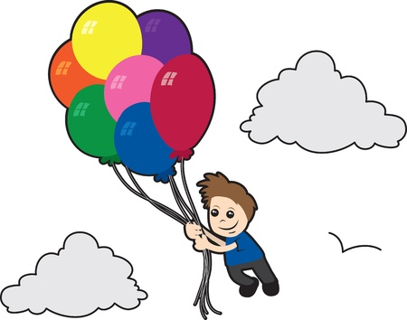 Boy flying with balloons in the clouds Stock Vector - 11307868