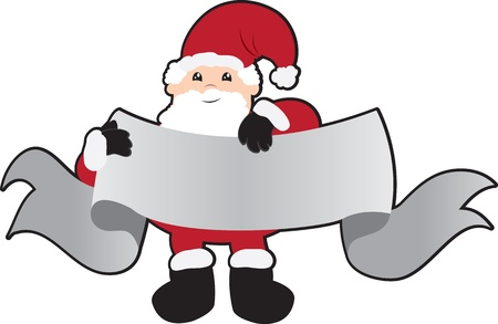 cary: Santa holding a large banner for text.