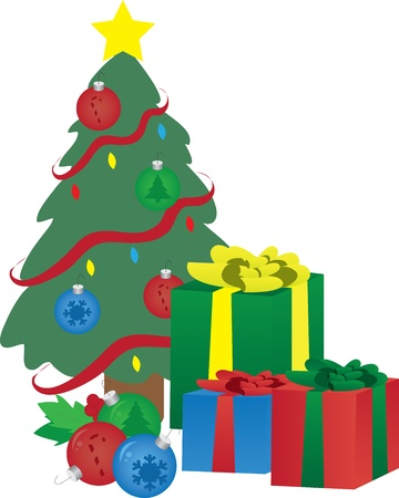 Christmas presents under a decorated christmas tree. Vector