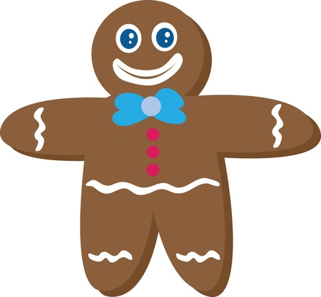 Gingerbread Man cookie smiling Vector