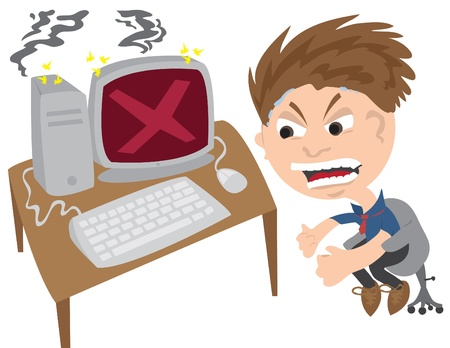 Cartoon man angry at computer error screen.