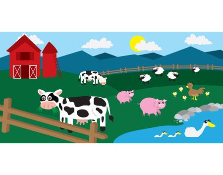 red barn: Cartoon farm with various animals throughout the field.