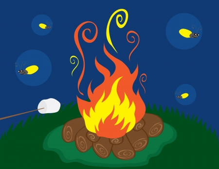 Campfire with marshmallow and fireflies. Vectores