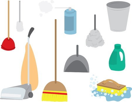 Various cleaning supplies including: vacuum, duster, broom, soap, garbage can, brush.   Illustration
