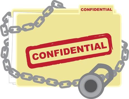 locked up: Confidential folder with files locked up. Illustration